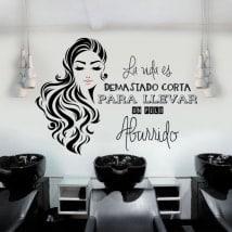 Autocollants salons de coiffure silhouette et expression