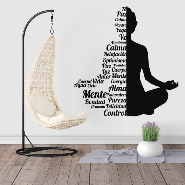 Stickers muraux silhouette texte de Buda