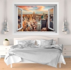 3D fenêtre vinyle New York city coucher de soleil