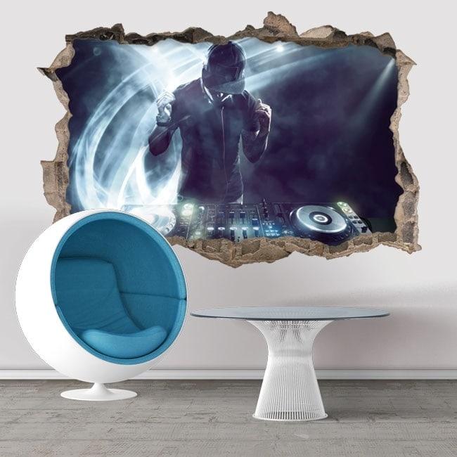 Stickers muraux DJ 3D