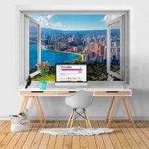Fenêtres en vinyle 3D plages Honolulu Hawaii
