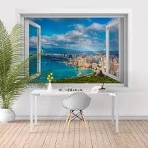Fenêtre fenêtre 3D arc en ciel plages d'Hawaï