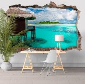 Stickers muraux île lagon bleu 3D