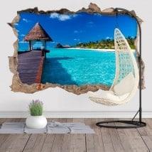 Autocollants muraux décoratifs 3D île de lagune bleue