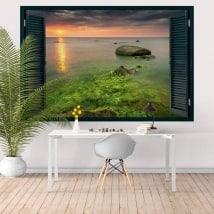 Fenêtre coucher de soleil Californie Malibu Rocky Beach 3D