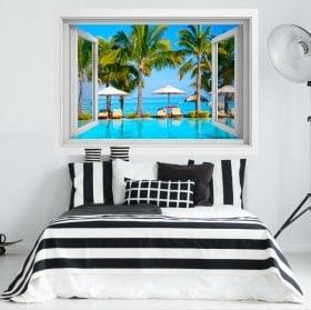 Fenêtre en vinyle 3D les plages de l'île Maurice