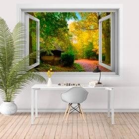 Stickers muraux fenêtre maison de campagne 3D