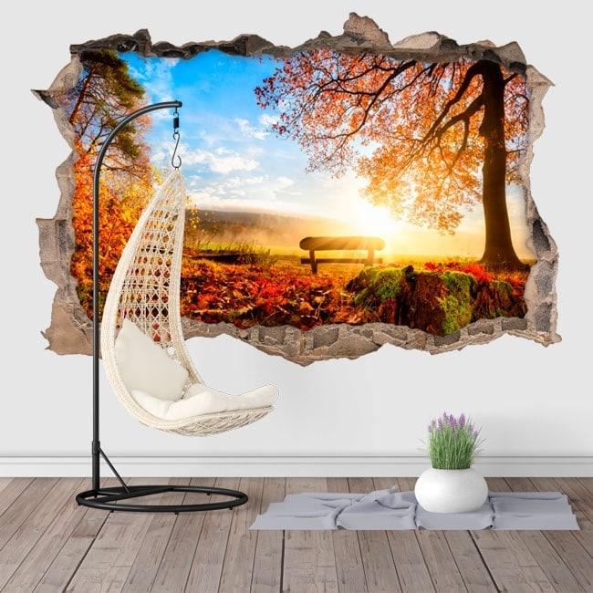Autocollants muraux 3D coucher de soleil à la campagne
