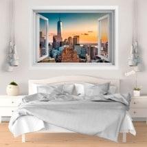Stickers muraux coucher de soleil à Manhattan 3D