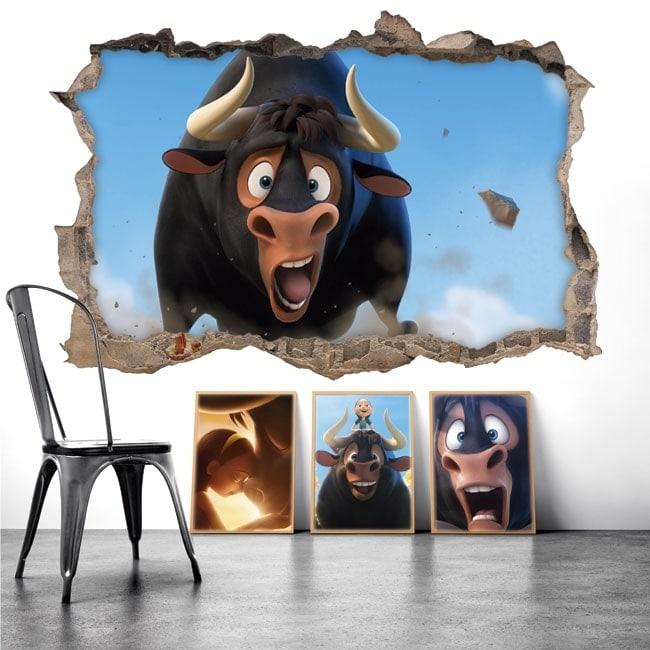 Stickers muraux Ferdinand le taureau 3D