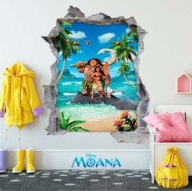 Stickers muraux enfants Disney Moana 3D