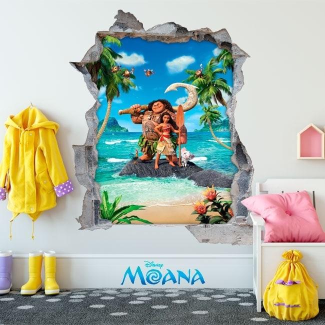Stickers muraux enfants Disney Moana 3D