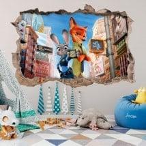 Vinyle mural enfants zootopie 3D