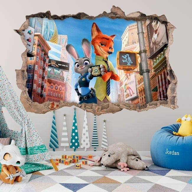 vinyle mural enfants zootopie 3d. Black Bedroom Furniture Sets. Home Design Ideas