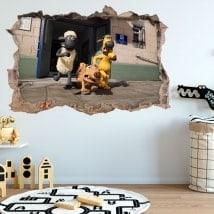 Fonds d'écran trou mural Shaun mouton 3D
