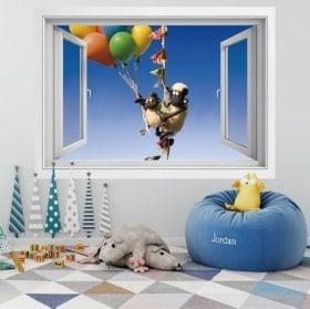 Stickers muraux fenêtre le mouton Shaun 3D