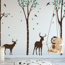 Vinyle décoratif cerf dans la forêt
