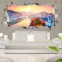 Vinyle 3D panoramique coucher de soleil à Salzbourg en Autriche