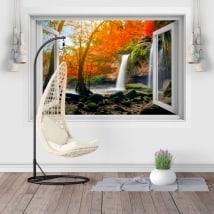 Autocollants de fenêtre cascades de Heo Suwat 3D