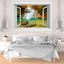 Vinyle décoratif Arc-en-ciel dans la cascade 3D