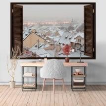 Vinyle murs Hiver à Prague 3D