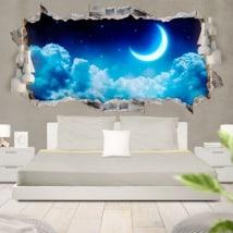 Autocollants lune et les étoiles en 3D