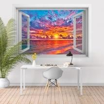 Vinyle coucher de soleil sur la plage 3D