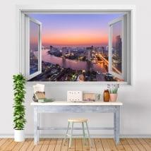 Vinyle ville coucher de soleil Bangkok 3D