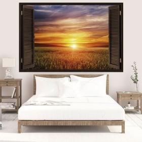 Vinyle fenêtres coucher de soleil dans le domaine 3D
