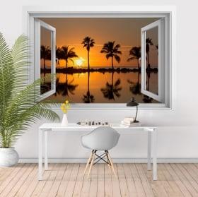 Vinyle adhésif coucher de soleil sur la plage 3D