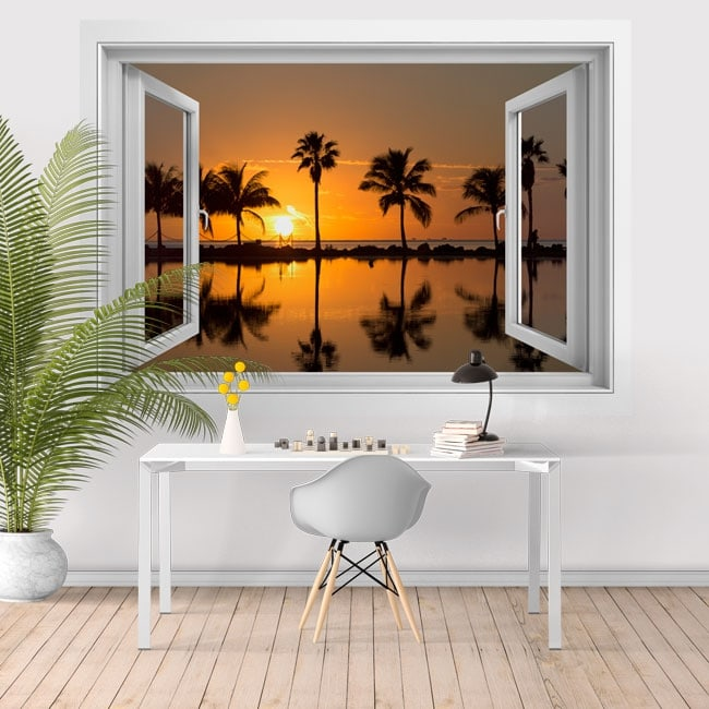 vinyle adh sif coucher de soleil sur la plage 3d. Black Bedroom Furniture Sets. Home Design Ideas