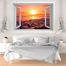 Vinyle et autocollants coucher de soleil sur la plage 3D