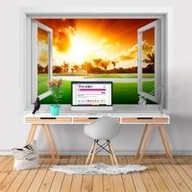 Vinyle fenêtre coucher de soleil 3D