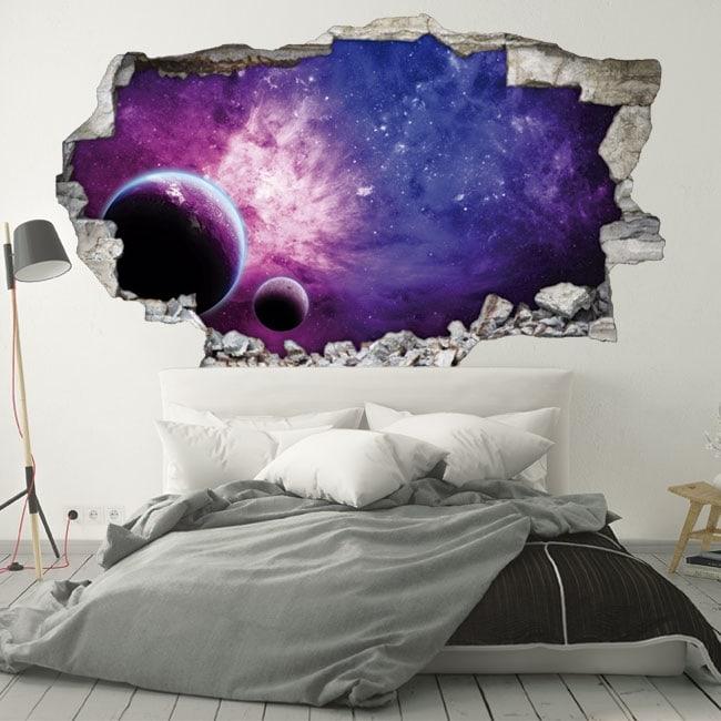 Vinyle murs planètes et galaxie 3D