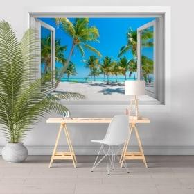 Vinyle adhésif fenêtres palmiers sur la plage 3D