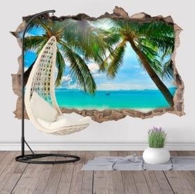 Vinyle palmiers sur la plage 3D