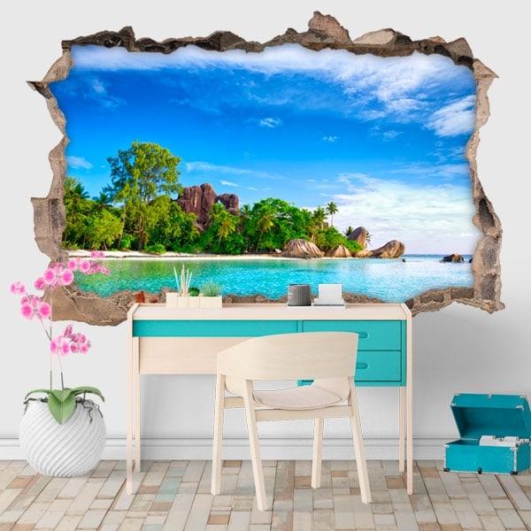 Vinyle décoratif île La Digue Seychelles 3D