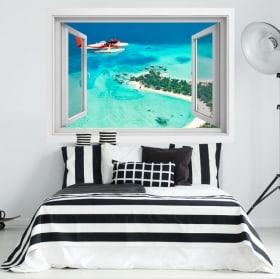 Autocollants fenêtre petit avion Îles Maldives 3D