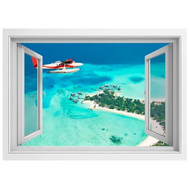 autocollants fen tre petit avion les maldives 3d. Black Bedroom Furniture Sets. Home Design Ideas