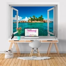 Vinyle murs fenêtre 3D de l'île tropicale