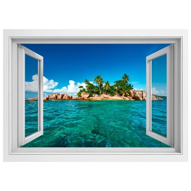 Vinyle murs fen tre 3d de l 39 le tropicale for Fenetre 3d windows 7