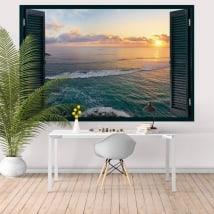 Stickers muraux fenêtre coucher de soleil Tropical Island 3D