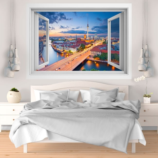 Vinyle d coratif coucher de soleil berlin allemagne 3d for Soleil decoratif mural