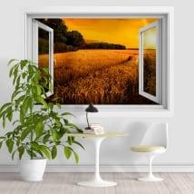 Vinyle et autocollants coucher de soleil dans le champ de blé 3D