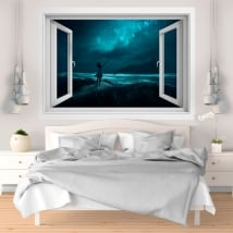 Vinyle décoratif fenêtres 3D nuit magique