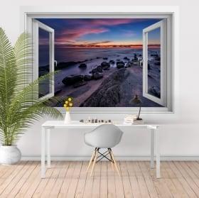 Vinyle décoratif fenêtres coucher de soleil mer noire 3D