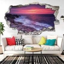 Vinyle décoratif coucher de soleil sur la mer noire 3D
