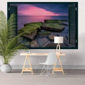 Vinyle décoratif fenêtre coucher de soleil sur la mer noire 3D