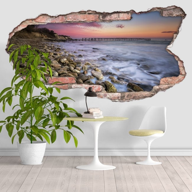 Vinyle décoratif coucher de soleil sur la côte 3D