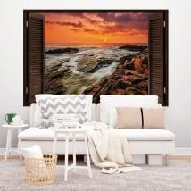 Vinyle fenêtre lever du soleil sur la côte 3D